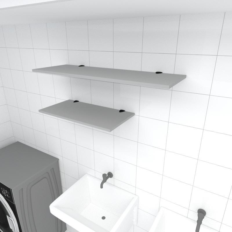 Kit 2 prateleiras lavanderia em MDF suporte tucano cinza 1 60x30cm 1 90x30cm modelo pratlvc14