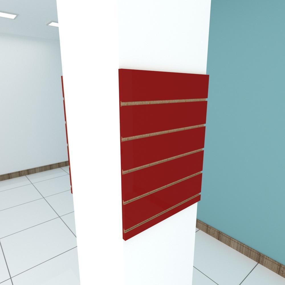 Kit 2 Painel canaletado para pilar vermelho escuro 2 peças 50(L)x60(A)cm