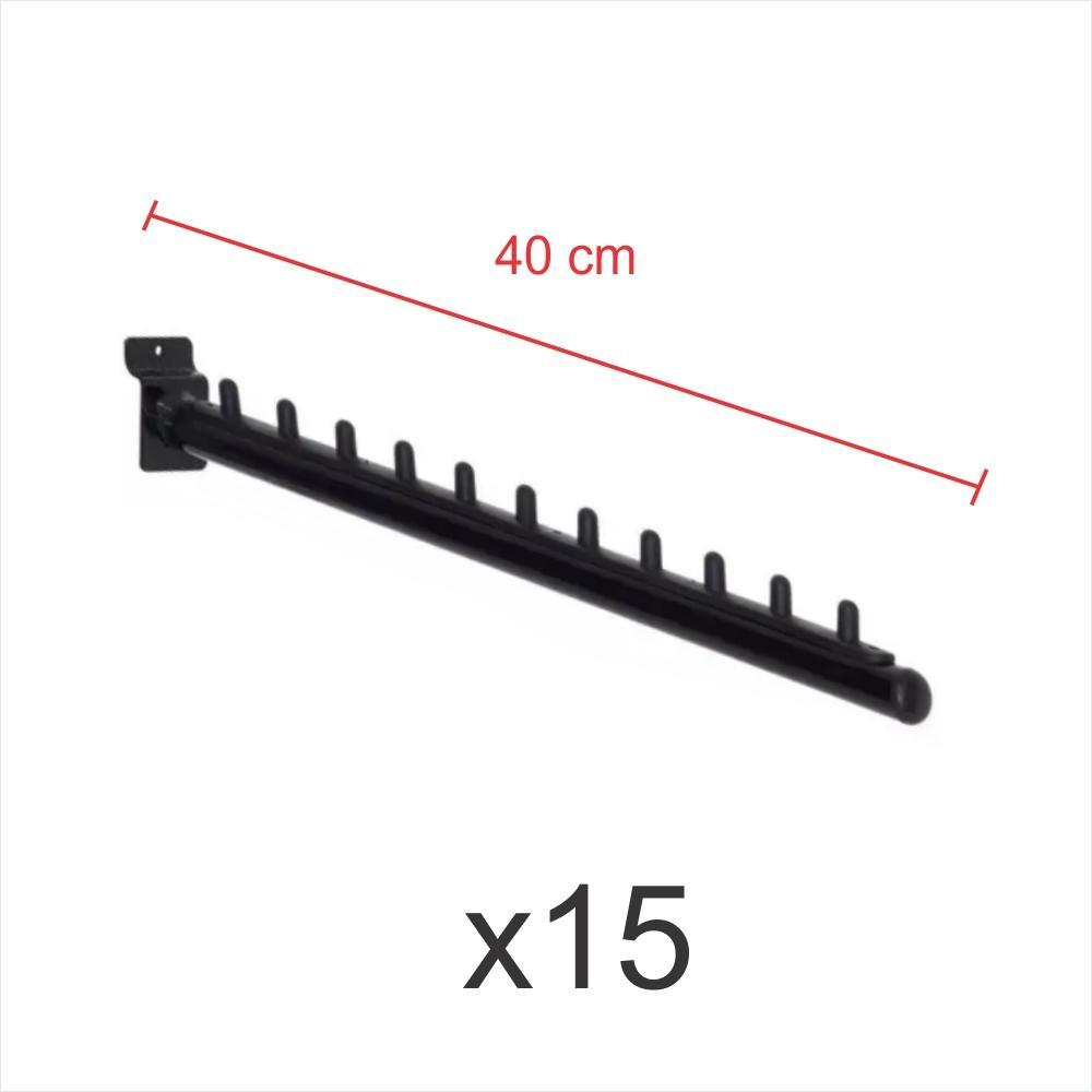 kit para expositor com 15 ganchos rt para roupas preto de 40 cm para painel canaletado