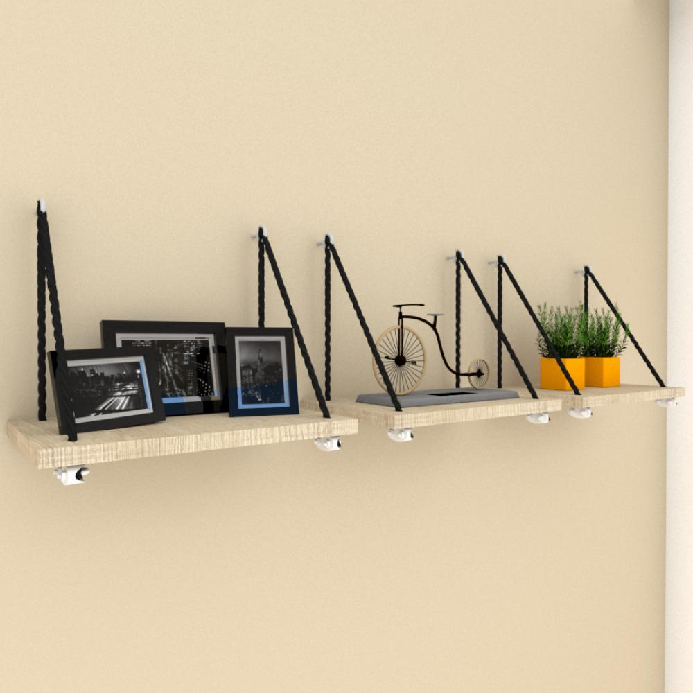Kit com 3 nicho prateleiras moderna com cordas, mdf Amadeirado claro