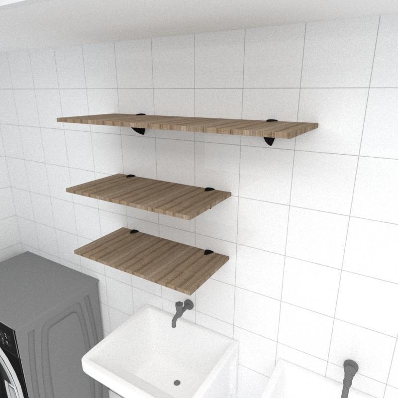 Kit 3 prateleiras lavanderia MDF sup tucano amadeirado escuro 2 60x30cm 1 90x30cm mod pratlvame15