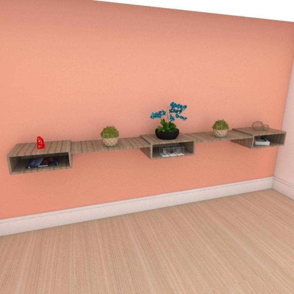 Rack slim triplo moderno com nichos em mdf amadeirado