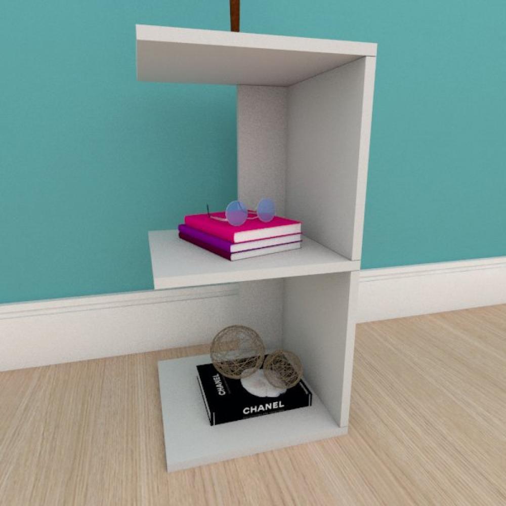 Mesa de cabeceira simples com prateleira em mdf cinza