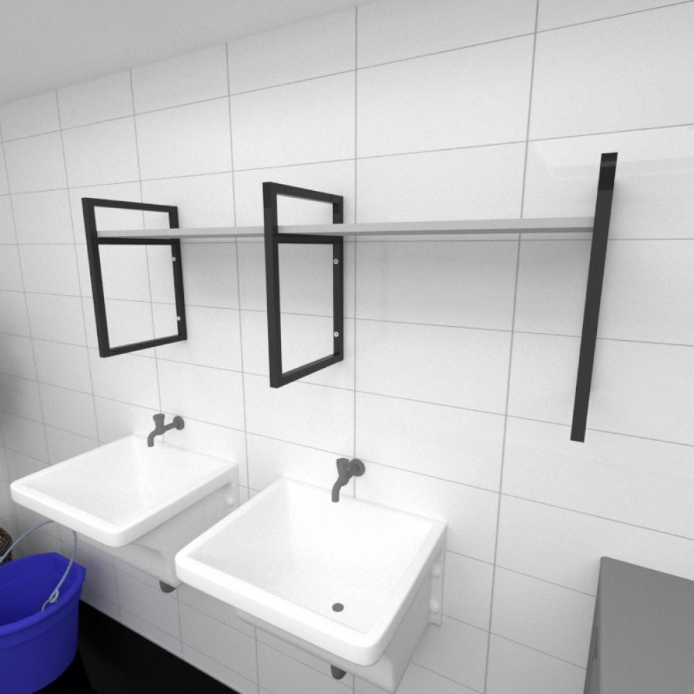 Prateleira industrial para lavanderia aço cor preto prateleiras 30 cm cor cinza modelo ind06clav