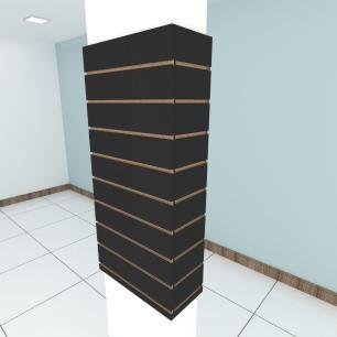 Kit 4 Painel canaletado para pilar preto 2 peças 54(L)x120(A)cm + 2 peças 20(L)x120(A)cm