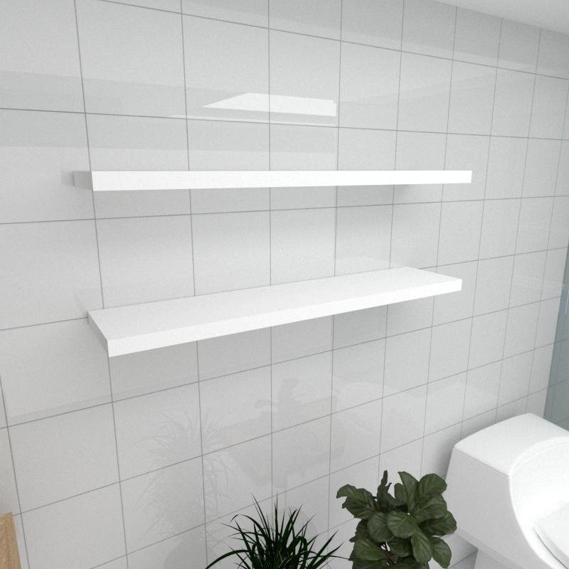 Kit 2 prateleiras para banheiro em MDF suporte Inivisivel branco 90x20cm modelo pratbnb26