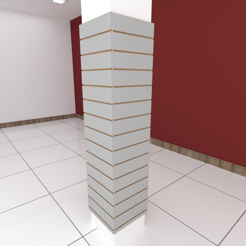 Kit 4 Painel canaletado para pilar cinza cristal 2 peças 44(L)x180(A)cm + 2 peças 40(L)x180(A)cm