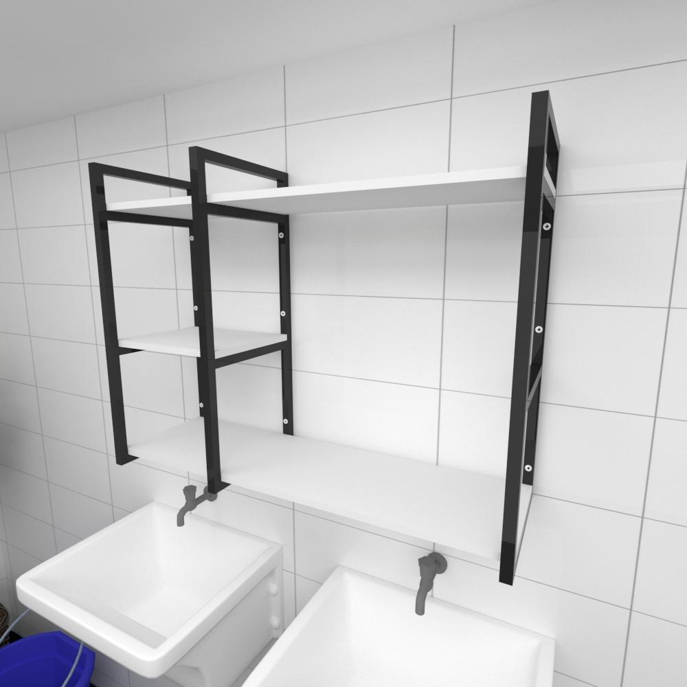 Prateleira industrial para lavanderia aço cor preto prateleiras 30cm cor branca modelo ind16blav