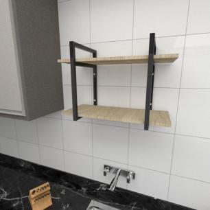 Prateleira industrial para cozinha aço cor preto prateleiras 30cm cor amadeirado claro mod ind02acc