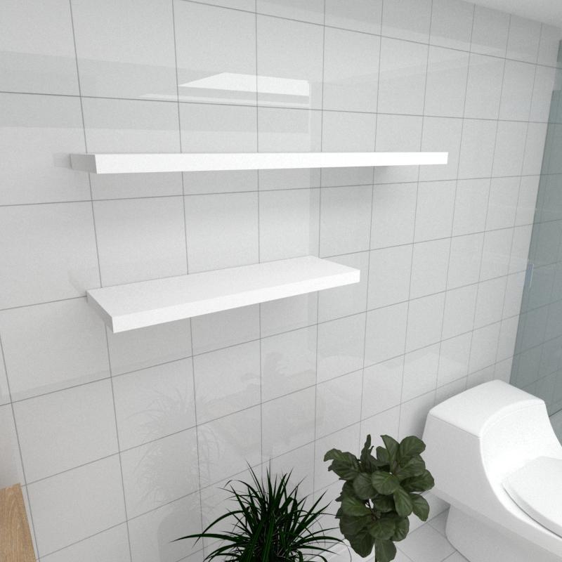 Kit 2 prateleiras banheiro em MDF sup. Inivisivel branco 1 60x20cm 1 90x20cm modelo pratbnb35