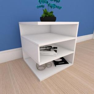 Mesa de cabeceira minimalista com nichos em mdf branco