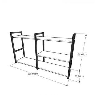 Mini estante industrial para sala aço cor preto mdf 30 cm cor amadeirado claro modelo ind14aceps