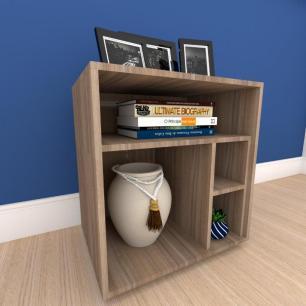 Mesa lateral para sofá formato S minimalista em mdf Amadeirado