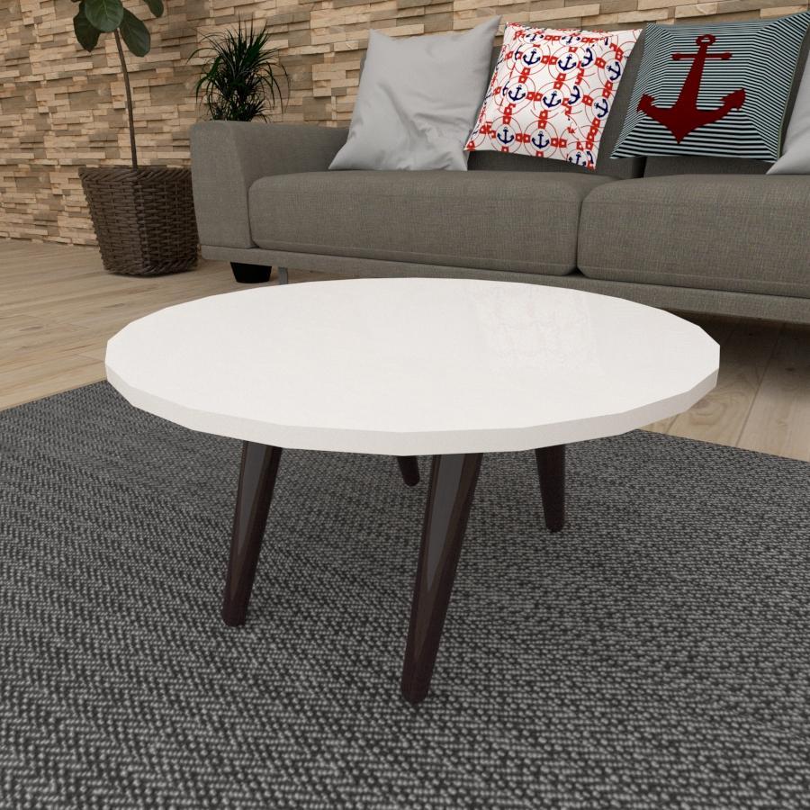 Mesa de Centro redonda em mdf branco com 4 pés inclinados em madeira maciça cor tabaco
