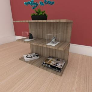 Mesa Lateral minimalista moderna em mdf amadeirado
