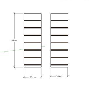 Kit 2 Painel canaletado para pilar preto 2 peças 30(L)x90(A) cm