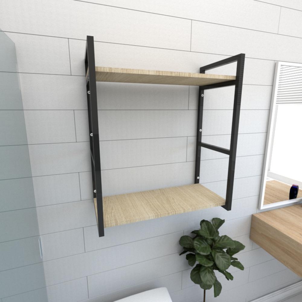 Prateleira industrial banheiro aço cor preto prateleiras 30cm cor amadeirado claro mod ind10acb