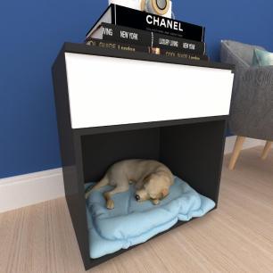 caminha criado cachorro cão gaveta mdf preto branco