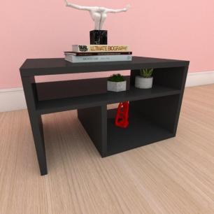 Mesa de cabeceira moderna compacta com prateleiras em mdf preto