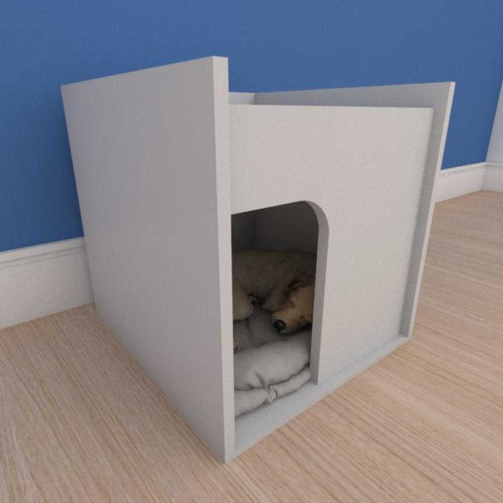 Mesa de cabeceira caminha compacta pequeno cachorro em mdf cinza