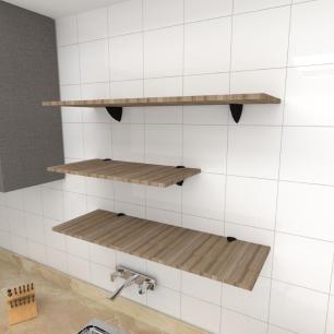 Kit 3 prateleiras cozinha MDF suporte tucano amadeirado escuro 1 60x30cm 2 90x30cm mod pratcame13