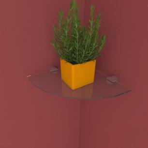 Kit com uma Prateleira para escritório de canto 20 cm vidro temperado