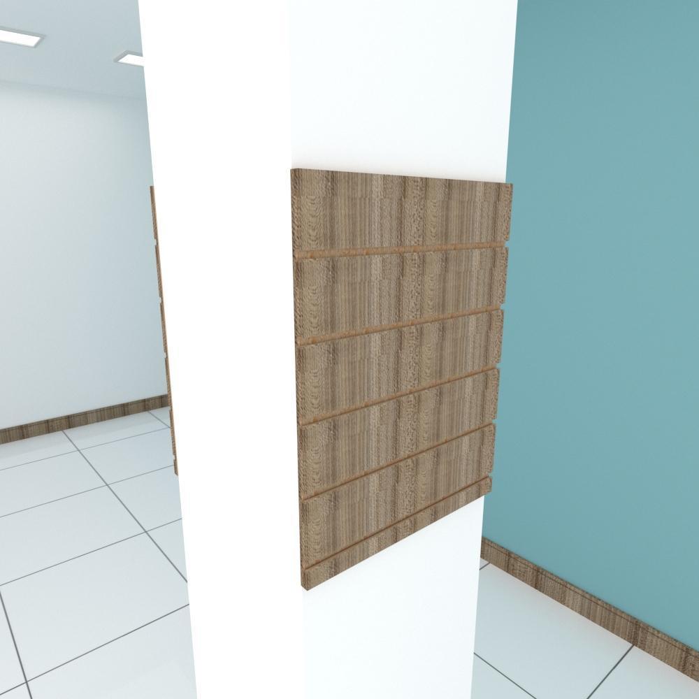 Kit 2 Painel canaletado para pilar amadeirado escuro 2 peças 50(L)x60(A) cm