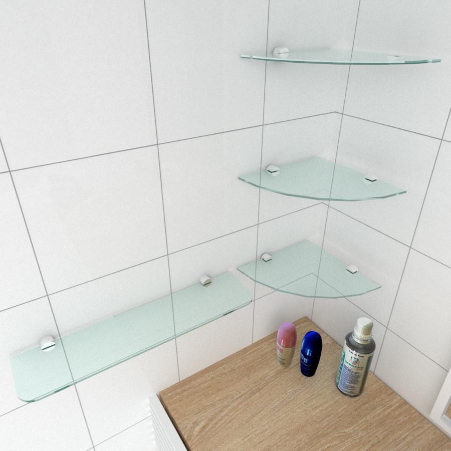 kit com 4 Prateleira de vidro temperado para banheiro 3 de 20 cm para canto e 1 de 40 cm reta