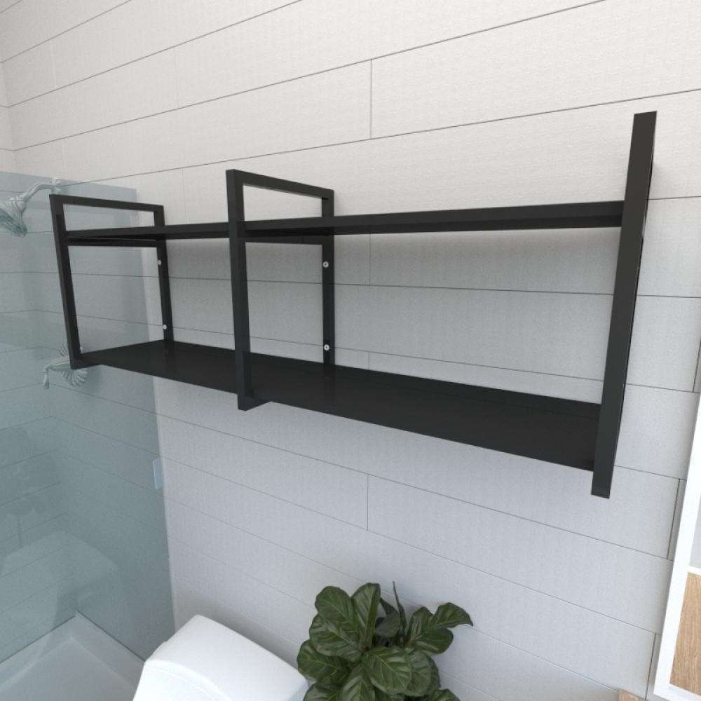 Prateleira industrial para banheiro aço cor preto prateleiras 30cm cor preto modelo ind04pb
