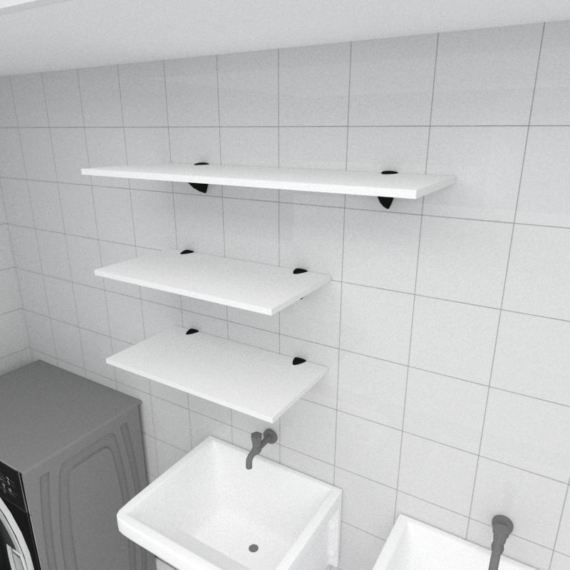Kit 3 prateleiras lavanderia em MDF suporte tucano branco 2 60x30cm 1 90x30cm modelo pratlvb15