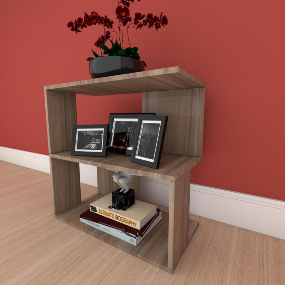 Mesa de Cabeceira formato S slim em mdf Amadeirado
