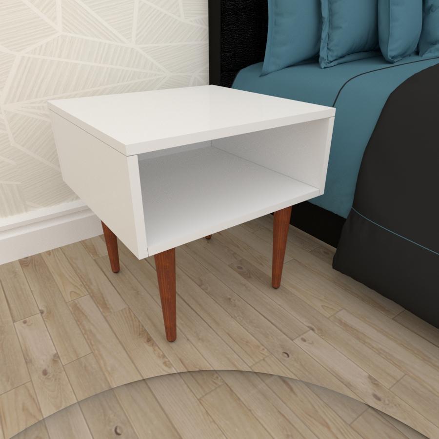 Mesa de Cabeceira em mdf branco com 4 pés retos em madeira maciça cor mogno
