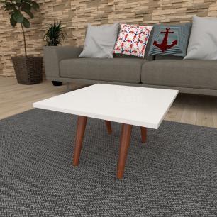 Mesa de Centro quadrada em mdf branco com 4 pés inclinados em madeira maciça cor mogno