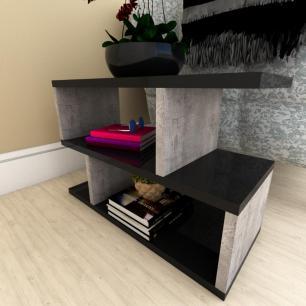 Kit com 2 Mesa de cabeceira preto com rustico