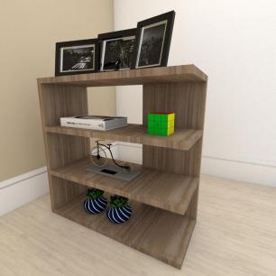 Estante escritório slim com 3 niveis em mdf Amadeirado