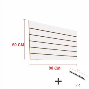 Kit Painel canaletado branco alt 60 cm comp 90 cm mais 10 ganchos rt 40 cm para roupas