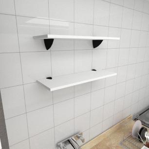 Kit 2 prateleiras para cozinha em MDF suporte tucano branco 60x20cm modelo pratcb11