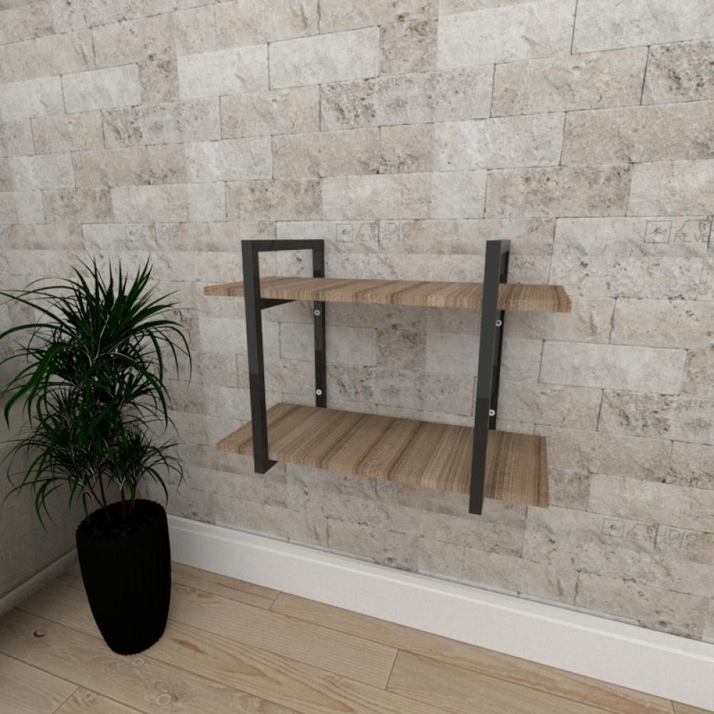 Mini estante industrial para escritório aço cor preto mdf 30cm cor amadeirado escuro mod ind02aeep