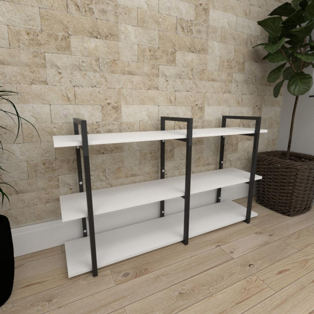 Mini estante industrial para escritório aço cor preto prateleiras 30 cm cor branca modelo ind12bep
