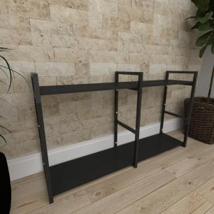 Mini estante industrial para sala aço cor preto prateleiras 30cm cor preto modelo ind13peps