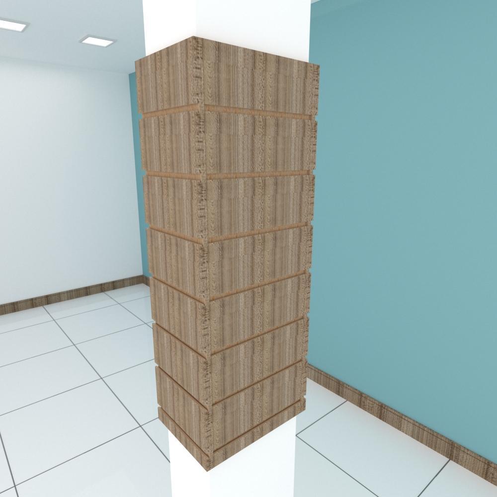 Kit 4 Painel canaletado para pilar amadeirado escuro 2 peças 24(L)x90(A)cm + 2 peças 30(L)x90(A)cm