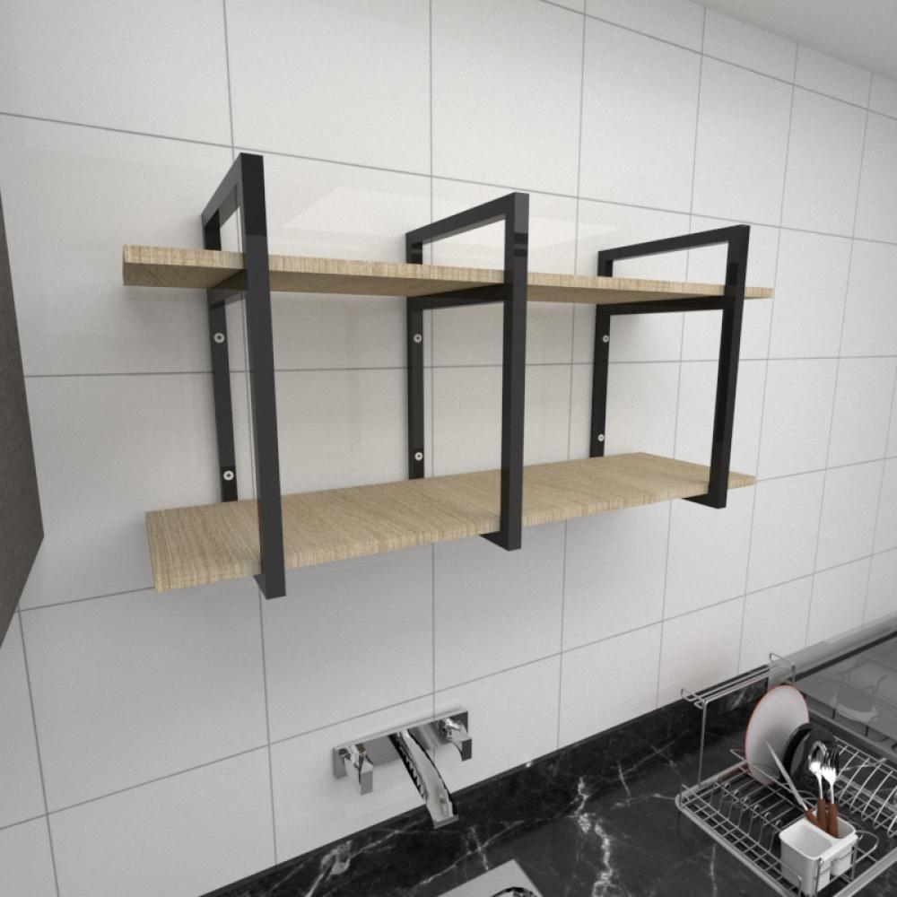 Prateleira industrial para cozinha aço cor preto prateleiras 30cm cor amadeirado claro mod ind20acc