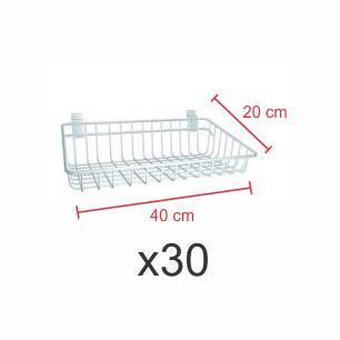 Pacote com 30 Cestos para painel canaletado 20x40 cm branco