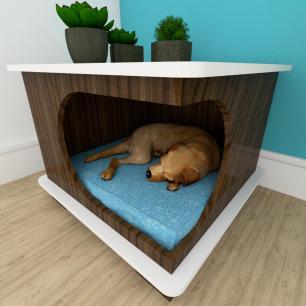 Mesa de cabeceira caminha cão gaveta mdf Amadeirado escuro branco