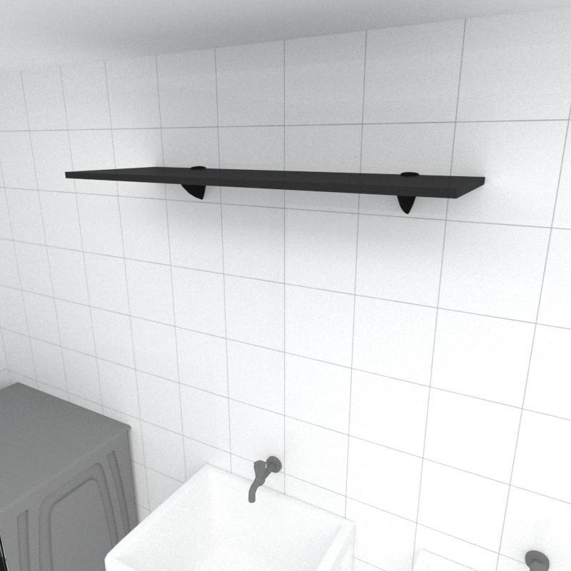 Prateleira para lavanderia MDF suporte tucano cor preto 90(C)x30(P)cm modelo pratlvp01