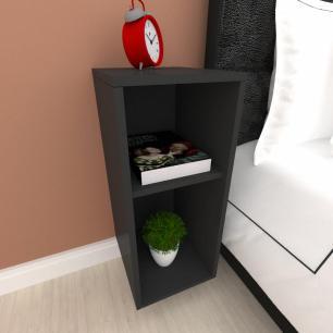 Mini estante para escritório em mdf preto