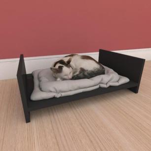 Mesa de cabeceira caminha simples pequeno gato em mdf cinza