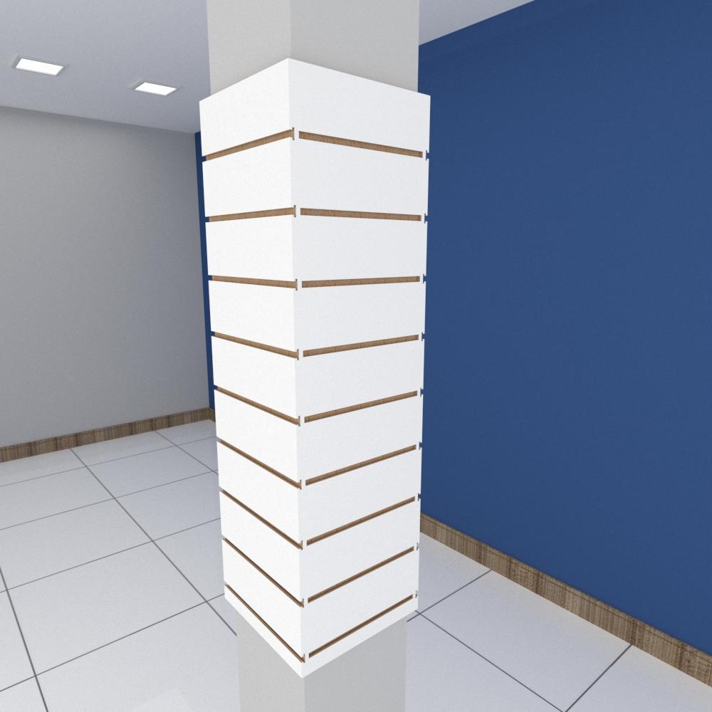 Kit 4 Painel canaletado para pilar branco 2 peças 34(L)x120(A)cm + 2 peças 30(L)x120(A)cm