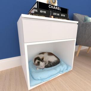 Casinha caminha gato com gaveta mdf branco com cinza