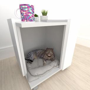 Casinha caminha criado mudo gato mdf cinza com branco